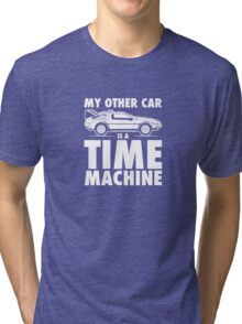 My Other Car Is A Time Machine Retro 80s Funny Logo Tri-blend T-Shirt