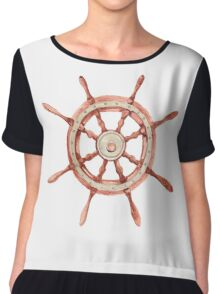 Watercolor wood wheel Chiffon Top