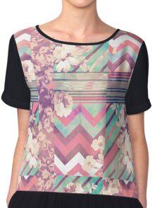 Retro Pink turquoise Floral Stripe Chevron Pattern Chiffon Top