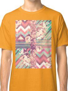 Retro Pink turquoise Floral Stripe Chevron Pattern Classic T-Shirt