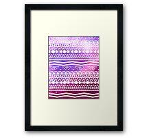 Trendy White Aztec Pattern Purple Nebula Space Framed Print