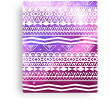 Trendy White Aztec Pattern Purple Nebula Space Canvas Print