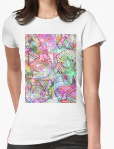 Abstract Girly Neon Rainbow Paisley Sketch Pattern Womens Fitted T-Shirt