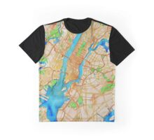 New York City Oily Watercolor Map Graphic T-Shirt