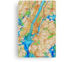 New York City Oily Watercolor Map Canvas Print