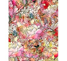 Colorful Watercolor Floral Pattern Abstract Sketch Photographic Print