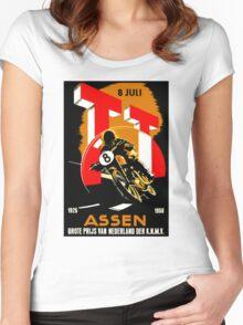 """MOTORCYCLE GRAND PRIX"" Vintage RACING Advertising Print Women's Fitted Scoop T-Shirt"
