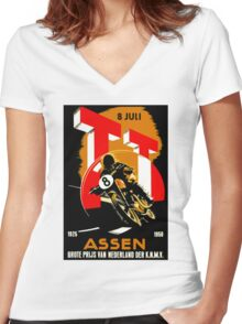 """""""MOTORCYCLE GRAND PRIX"""" Vintage RACING Advertising Print Women's Fitted V-Neck T-Shirt"""