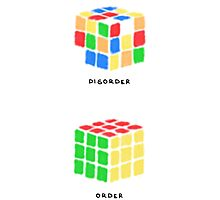 Rubiks Cubes (black text) Photographic Print