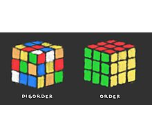 Rubiks Cubes (white text) Photographic Print