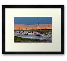 Orange and Blue Evening Mooring - British Coast And Beach  Framed Print
