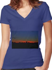 Red Sunset Women's Fitted V-Neck T-Shirt