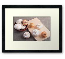 Raw champignon mushrooms and onions Framed Print