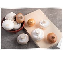 Raw champignon mushrooms and onions Poster