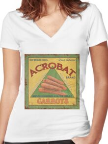 Americana Vegetables 2 Women's Fitted V-Neck T-Shirt