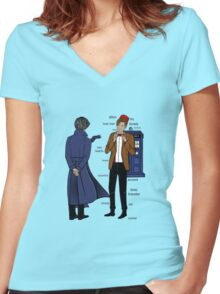 doctor and deteective Women's Fitted V-Neck T-Shirt