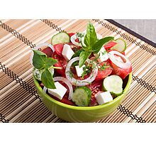Green bowl with tasty and wholesome vegetarian meal Photographic Print