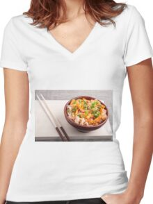 Closeup Asian dish of rice noodles and vegetable sauce Women's Fitted V-Neck T-Shirt