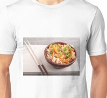 Closeup Asian dish of rice noodles and vegetable sauce Unisex T-Shirt