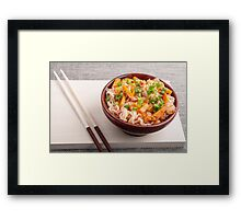 Closeup Asian dish of rice noodles and vegetable sauce Framed Print
