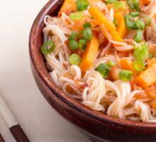 Closeup Asian dish of rice noodles and vegetable sauce Sticker