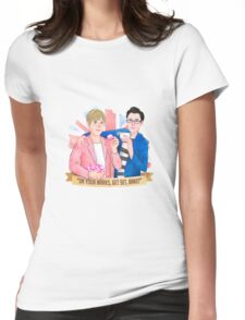 "Mel & Sue. ""On your mark, Get Set, BAKE!"" 2016 Womens Fitted T-Shirt"