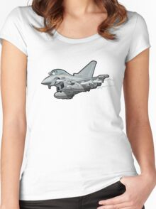 Cartoon Fighter Plane Women's Fitted Scoop T-Shirt