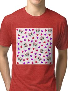 Funny Girly Pink Red Smiley Face and Lips Pattern Tri-blend T-Shirt