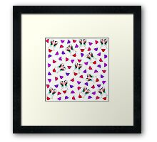 Funny Girly Pink Red Smiley Face and Lips Pattern Framed Print