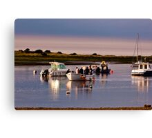 Boats Trippers Returning Home - British Coast And Beach  Canvas Print