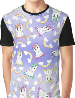 Cute Girly Unicorns and Colorful Rainbows Pattern Graphic T-Shirt