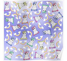 Cute Girly Unicorns and Colorful Rainbows Pattern Poster