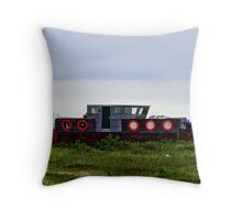 Boat With Red Round Windows - British Coast And Beach  Throw Pillow
