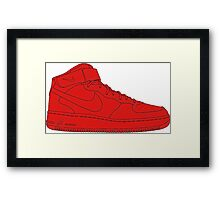 "Nike Air Force One Mid/High ""All Red"" Framed Print"