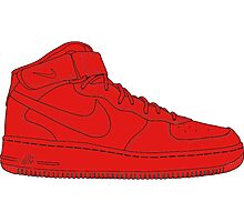 """Nike Air Force One Mid/High """"All Red"""" Photographic Print"""