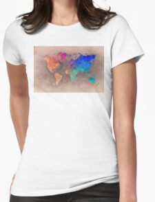 World map 5 Womens Fitted T-Shirt