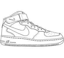 """Nike Air Force One Mid/High """"All White"""" Photographic Print"""