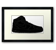 "Nike Air Force One Mid/High ""All Black"" Framed Print"