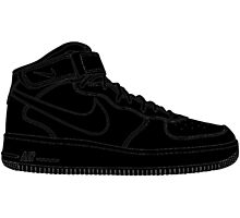 """Nike Air Force One Mid/High """"All Black"""" Photographic Print"""