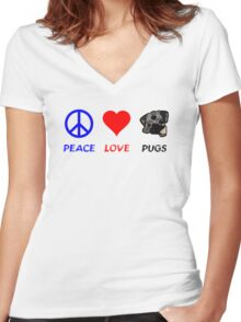 Peace Love Pugs Women's Fitted V-Neck T-Shirt