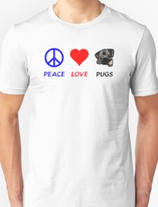 Peace Love Pugs Unisex T-Shirt