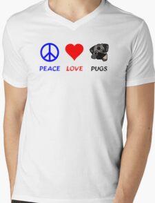 Peace Love Pugs Mens V-Neck T-Shirt