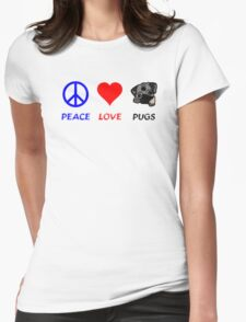 Peace Love Pugs Womens Fitted T-Shirt