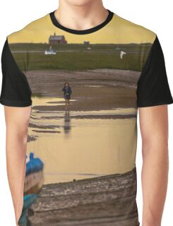 Yellow Sky and Blue Boat - British Coast And Beach  Graphic T-Shirt