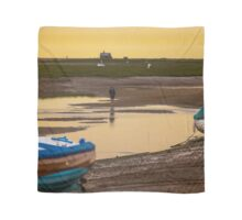 Yellow Sky and Blue Boat - British Coast And Beach  Scarf