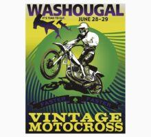 """""""WASHOUGAL MOTOCROSS"""" Vintage Motorcycle Advertising Print Kids Tee"""