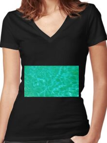 Pool Water - Green Women's Fitted V-Neck T-Shirt