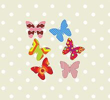 Butterflies, Insects - Pink Blue Green Red by sitnica