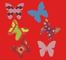 Butterflies, Insects - Pink Blue Green Red Kids Clothes