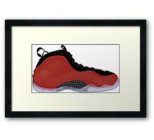 "Nike Air Foamposite One ""Metallic Red"" Framed Print"